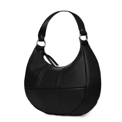 Чанта от естествена кожа Cristina, черна