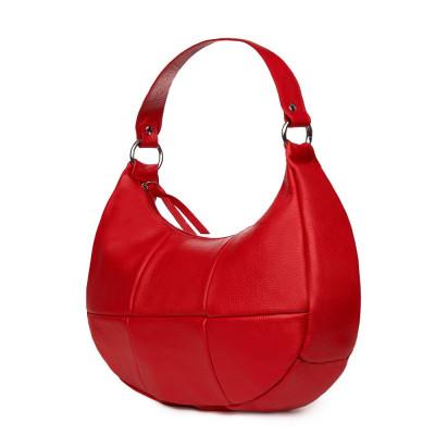 Чанта от естествена кожа Cristina, червена