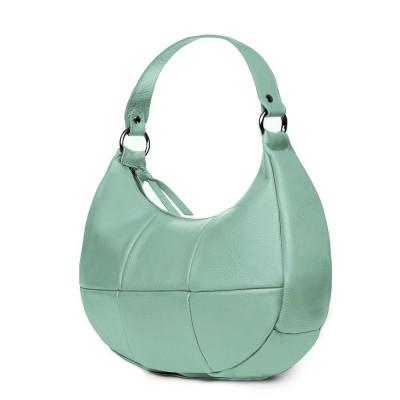 Чанта от естествена кожа Cristina, светло зелена