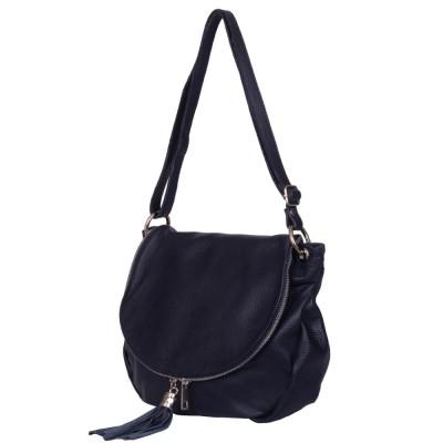 Дамска чанта от естествена кожа Flavia, тъмносиня