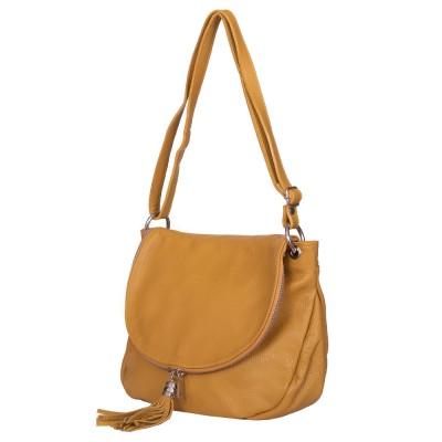 Дамска чанта от естествена кожа Flavia, жълта