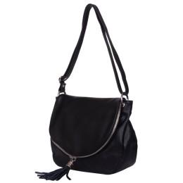 Дамска чанта от естествена кожа Flavia, черна