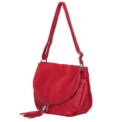 Дамска чанта от естествена кожа Flavia, червена