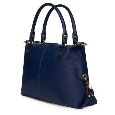 Дамска чанта от естествена кожа Francesca, синя
