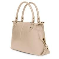 Дамска чанта от естествена кожа Francesca, светло бежова