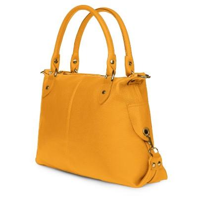 Дамска чанта от естествена кожа Francesca, жълта