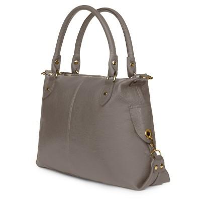 Дамска чанта от естествена кожа Francesca, сива