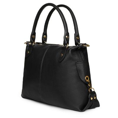 Дамска чанта от естествена кожа Francesca, черна