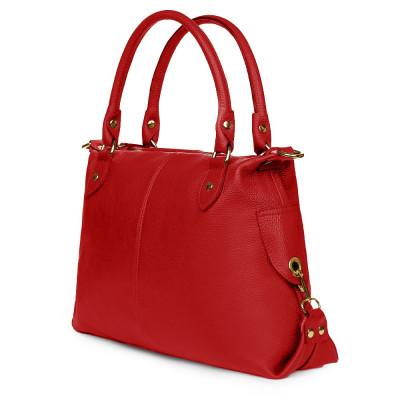 Дамска чанта от естествена кожа Francesca, червена