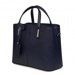 Чанта от естествена кожа Gianna, тъмносиня