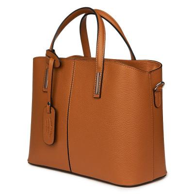 Чанта от естествена кожа Gianna, коняк