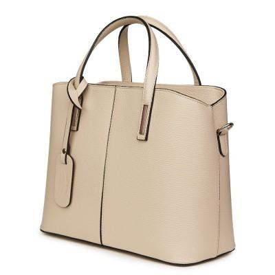Чанта от естествена кожа Gianna, светло бежова
