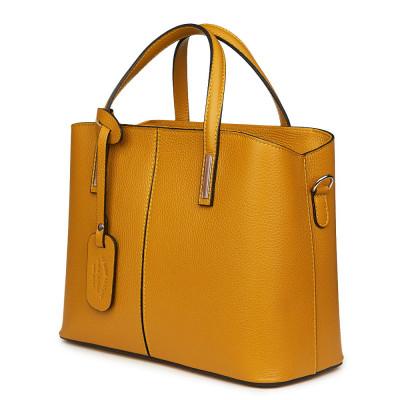 Чанта от естествена кожа Gianna, тъмножълта