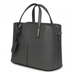 Чанта от естествена кожа Gianna, сива