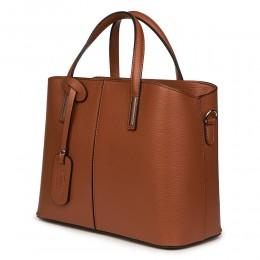 Чанта от естествена кожа Gianna, кафява