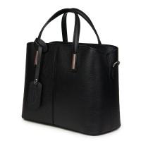 Чанта от естествена кожа Gianna, черна