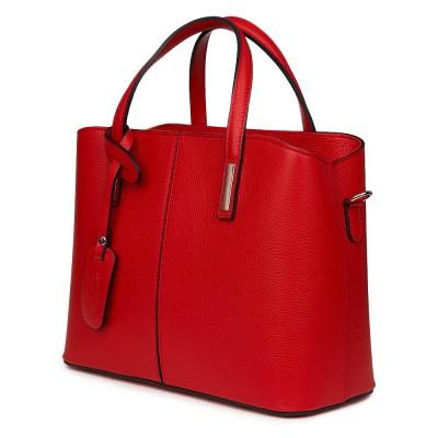 Чанта от естествена кожа Gianna, червена