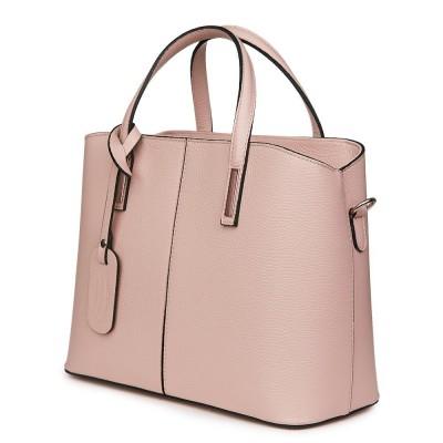 Чанта от естествена кожа Gianna, розова