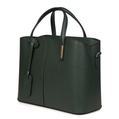 Чанта от естествена кожа Gianna, тъмнозелена