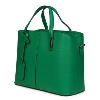 Чанта от естествена кожа Gianna, зелена