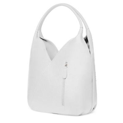 Чанта от естествена кожа Lorena, бяла