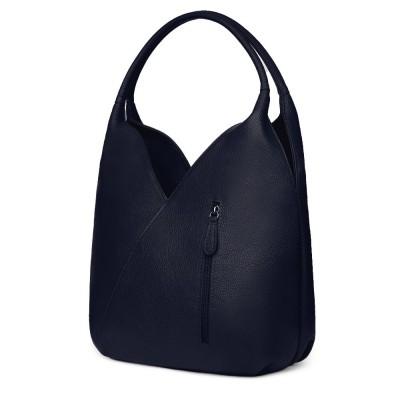 Чанта от естествена кожа Lorena, тъмносиня