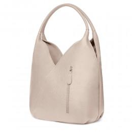 Чанта от естествена кожа Lorena, бежова