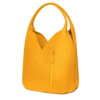 Чанта от естествена кожа Lorena, жълта