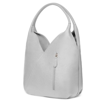 Чанта от естествена кожа Lorena, сива