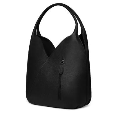 Чанта от естествена кожа Lorena, черна
