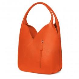 Чанта от естествена кожа Lorena, оранжева
