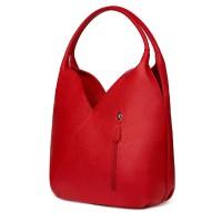 Чанта от естествена кожа Lorena, червена