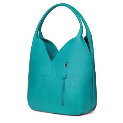 Чанта от естествена кожа Lorena, тюркоаз