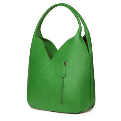 Чанта от естествена кожа Lorena, зелена