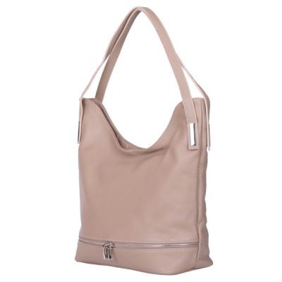 Чанта от естествена кожа Lucy, бежова