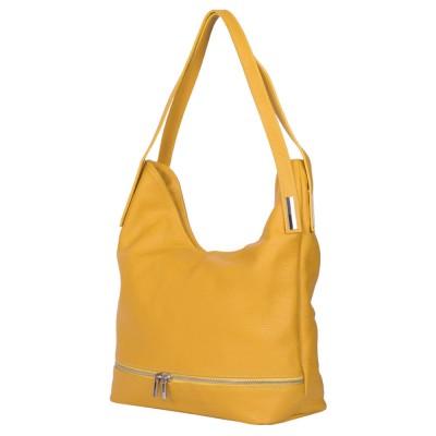 Чанта от естествена кожа Lucy, жълта