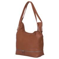 Чанта от естествена кожа Lucy, кафява
