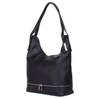 Чанта от естествена кожа Lucy, черна
