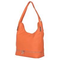 Чанта от естествена кожа Lucy, оранжева