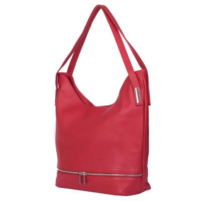 Чанта от естествена кожа Lucy, червена
