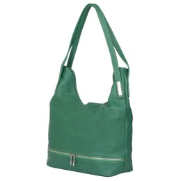 Чанта от естествена кожа Lucy, зелена
