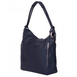 Дамска чанта от естествена кожа Mia, тъмносиня