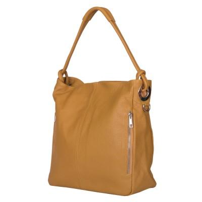 Дамска чанта от естествена кожа Mia, жълта