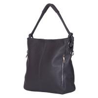 Дамска чанта от естествена кожа Mia, тъмносива