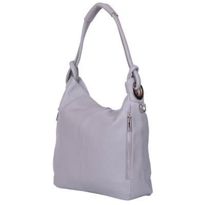 Дамска чанта от естествена кожа Mia, сива