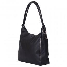Дамска чанта от естествена кожа Mia, черна