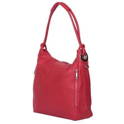 Дамска чанта от естествена кожа Mia, червена