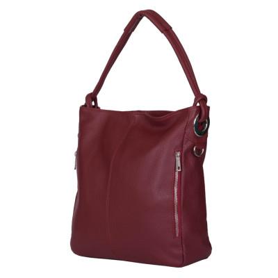 Дамска чанта от естествена кожа Mia, тъмночервена