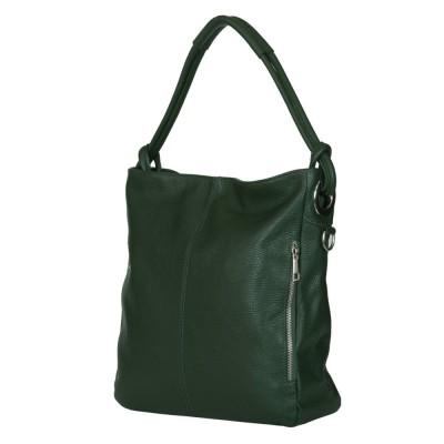 Дамска чанта от естествена кожа Mia, тъмнозелена