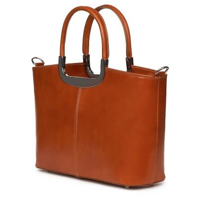 Чанта от естествена кожа Patrizia, коняк